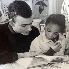 Jonathan Daniels tutoring a child at Church House, Oxford St., Providence, RI fall 1964.